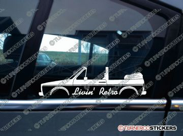 2x Livin' RETRO car stickers - for VW Golf MK1 Convertible cabby cabrio classic
